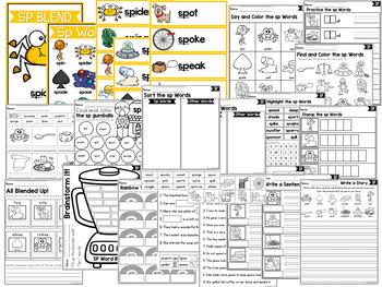 S Blends Worksheets - SP Blend Words