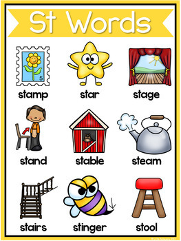 S Blends Worksheets - ST Blend Words