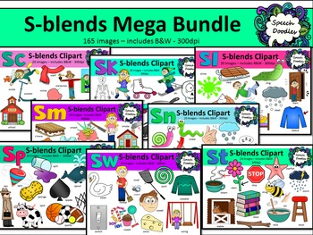 S Blends clipart - Mega bundle of Sc, Sk, Sl, Sm, Sn, Sp, St and Sw