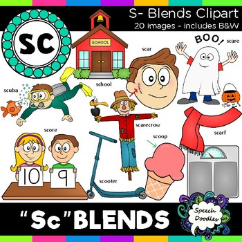 S Blends clipart - Sc words - 20 images for Personal and Commercial use