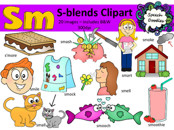 S Blends clipart - Sm words - 20 images! Personal and Commercial use