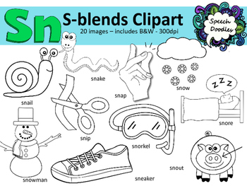 S Blends clipart - Sn words - 20 images! Personal and Commercial use