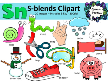 S Blends clipart - Sn words - 20 images! Personal and Comm