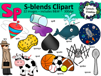 S Blends clipart - Sp words-  22 images! - Personal and Co