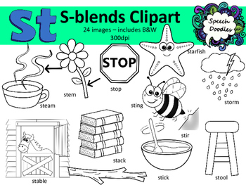 S Blends clipart - St words - 24 images! Personal and Commercial use