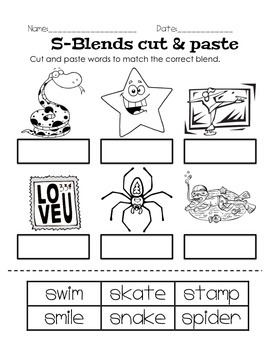 S Blends phonics, worksheets, posters, common core aligned