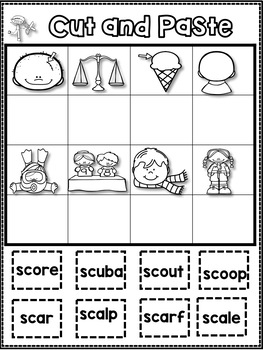 S Blends sc and sk Worksheets! - All About sc and sk!
