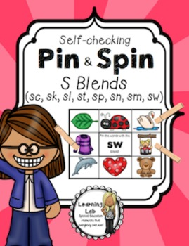 S Blends (sc, sk, sl, sp, st, sw, sm, sn) - Self-Checking Phonics Centers