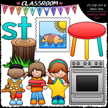 S Blends (sc-sk-sm-sn-sp-st-sw) Clip Art & B&W Bundle
