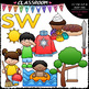 S Blends (sc-sk-sm-sn-sp-st-sw) Clip Art & B&W Bundle