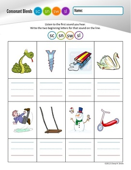 """S"" Family Clusters sc/sn/sw/sl  (#3 of 4 Phonemic Awareness Sorts)"