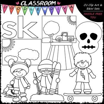 S Blends (sk) Phonics Clip Art - Consonants Clip Art