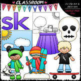 S Blends (sk) Phonics Clip Art - Consonants Clip Art