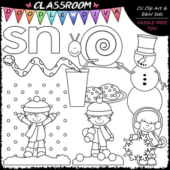 S Blends (sn) Phonics Clip Art - Consonants Clip Art