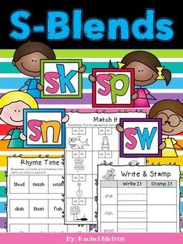 S-Blends (sn, sk, sw, sp) Phonics Worksheets (No Prep)