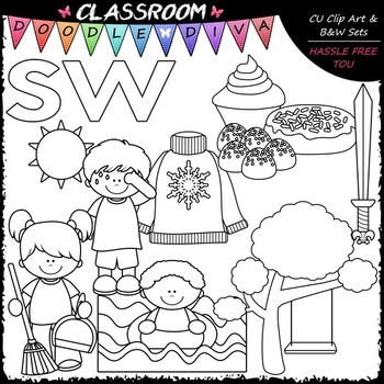 S Blends (sw) Phonics Clip Art - Consonants Clip Art