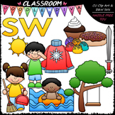 S Blends (sw) Phonics - Clip Art & B&W Set