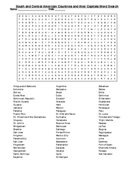 S. & Central American Countries & Capitals Crossword & Word Search