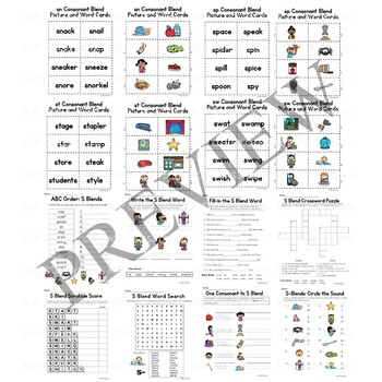 S Consonant Blend Activity Packet and Worksheets