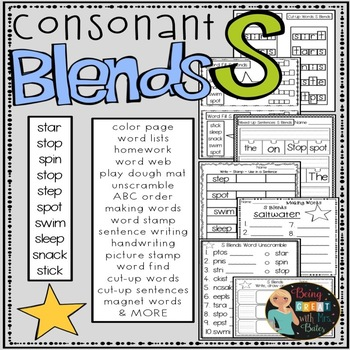 S Consonant Blends Hands-on Spelling and Phonics