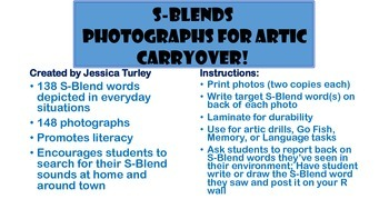 S Consonant Clusters: Articulation Photographs for Speech Therapy Carryover