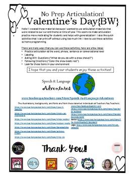 F & S Articulation Valentine's Day - NO PREP [BW]