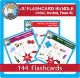 S Flashcards Bundle 3x5 Initial/Medial/Final in Color and BW