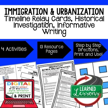 US History Immigration 1600-1980s Timeline & Writing Activ