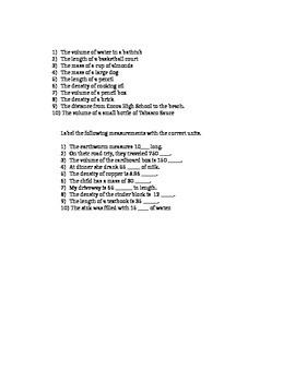 S.I. Units-Practice Worksheet