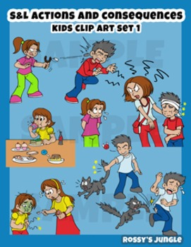 S&L SET 1 Kids clip art: Actions and consequences