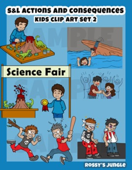 S L Actions And Consequences Kids Clip Art Set