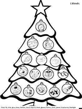 S, L, and R Blends Christmas Tree Stamp Activity Page  - NO PREP, low ink!