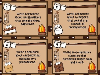 S'MORES Sentences Task Cards (Grammar and Vocabulary Practice)