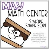 S'More 2D and 3D Shape Sort Kindergarten May Math Center