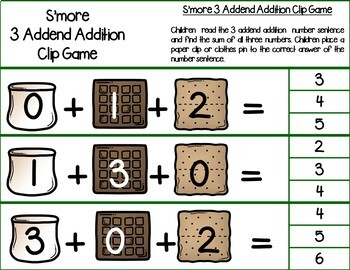 S'More Three Addend Addition Clip Game {FREE}