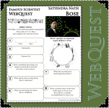 S. N. BOSE - WebQuest in Science - Famous Scientist - Differentiated