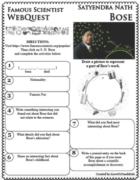 S. N. BOSE Science WebQuest Scientist Research Project Biography Notes