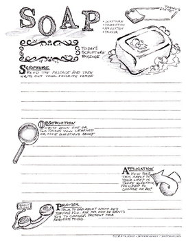 S.O.A.P Bible Journal Page (SOAP - Scripture Observation Application Prayer)