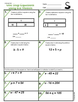S.  One Step Equations  6.EE.5 & 6.EE.6