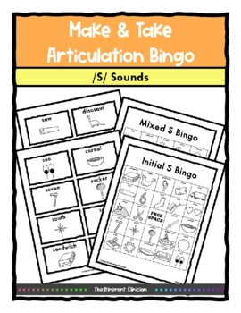 S Sound ARTICULATION BINGO Make & Take, SPEECH THERAPY