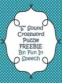 """""""S"""" Sound Articulation Crossword FREEBIE"""