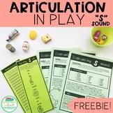 S Sound Articulation in Play Homework FREEBIE