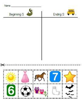 S Sound Sort--Kindergarten Reading Street Unit 2
