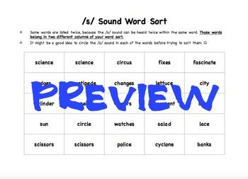 S Sound Word Sort /s/