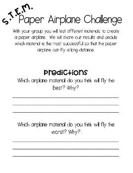 S T E M  Paper Airplane Challenge by Peanutbutterteachers | TpT