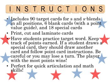 S Word Game for Articulation Practice