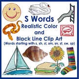 S Word Realistic and Creative Color and BW Clip Art
