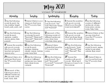 S & Z MAY 2018 HOMEWORK CALENDAR