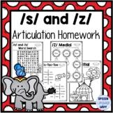 S and Z Articulation Homework Worksheets