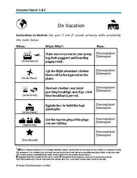 S and Z Carryover Vacation Activity Sheet